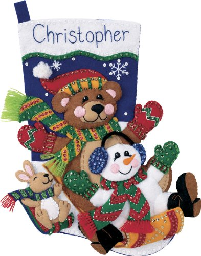 Dimensions Toboggan Wool Felt Christmas Stocking Kit, 18'' Long