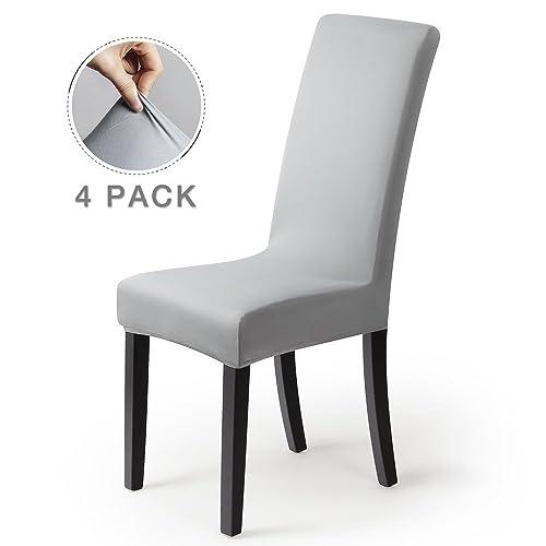 Housse de chaise Décor 4pièces housse de chaise Stretch-Housse Couverture de chaise de matériau spandex élastique pour un ajustement universel,très facile à nettoyer durable(Paquet de 4,Gris-Argent)