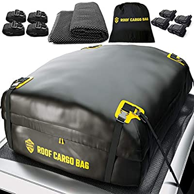 Car Top Carrier Roof Bag   15 or 20 Cubic ft + Protective Mat - for Cars with or Without Racks - Car Rack System Rack Adapter