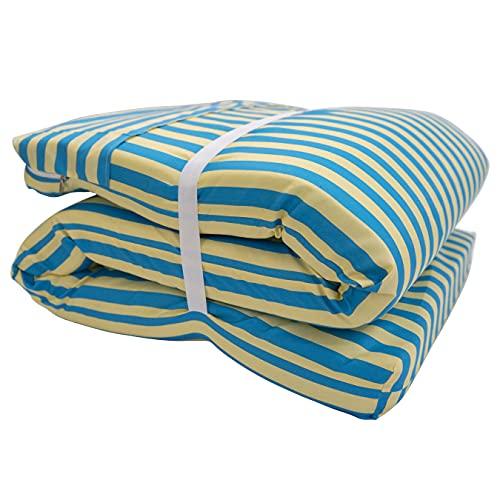 Bemitus Cuscino per sedia a sdraio da giardino | Materasso imbottito in fibra | Materassino per sdraio | Realizzato a mano in Spagna in poliestere | Oeko-Tex anallergico (righe blu)