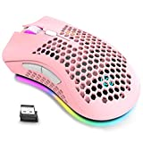 Wireless Lightweight Gaming Mouse, Ultralight Honeycomb Mice with RGB Backlit, 7 Button, Adjustable DPI, USB Receiver, 2.4G Wireless Rechargeable Ergonomic Optical Sensor Mouse for PC Mac Gamer (pink)
