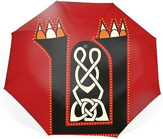 Celtic Letter U Compact Travel Umbrella - Windproof, Reinforced Canopy, Ergonomic Handle, Auto Open/Close