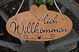 PW Metall Schild Willkommen Rostoptik 28x16cm Wandschmuck Bild Dekoration Wohnen