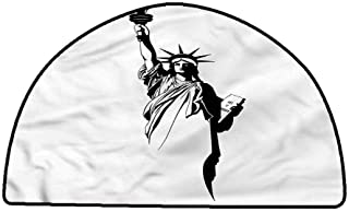 Rug Bathroom Mat Modern,The Statue of Liberty USA,W30 x L18 Half Round Carpet Flooring
