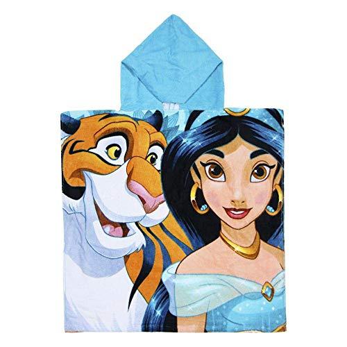 Cerdá 2200003880 Poncho Algodón Princess Jasmin, Azul, 50x115cm