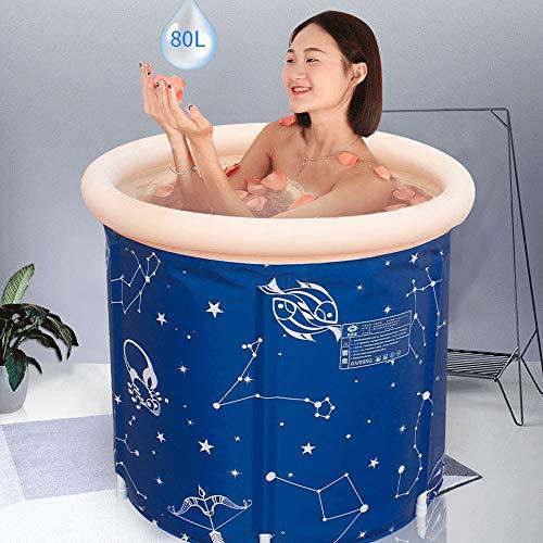 JIAJIAY Buthtubs Blau-Badebottich Erwachsener Folding Große Badewannen aus Kunststoff Haushalt Körper Erwachsene Aufblasbares Badewannen Eindickung Isolierung (Size : 65X70CM)