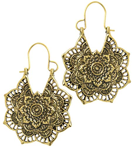 2LIVEfor Ohrringe Ethno Gross verziert Tropfen Hoops Ohrringe Bohemian Vintage Ohrringe lang Hängend Antik Style Silber und Gold Ornamente Blumen Blüte Creolen Rund Creole (Gold)