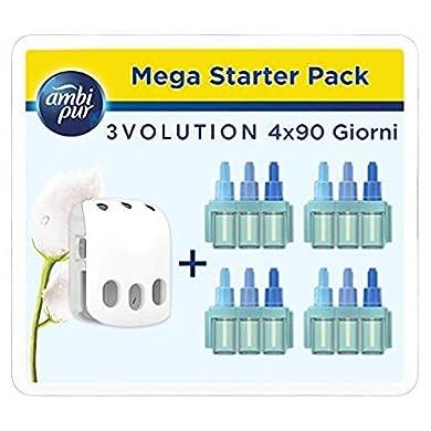 Foto di Ambi Pur Profumatore per Ambienti 3Volution Nuvole di Cotone Mega Starter Pack con Diffusore Elettrico 21 ml, 4 Ricariche con 3 Diverse Fragranze per Eliminare gli Odori