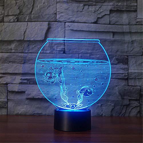 3D-lamp, bedrukt met aquarium, LED-licht, 7 kleuren, USB-oplading, decoratief led-nachtlampje met touch-bediening, decoratie voor de slaapkamer