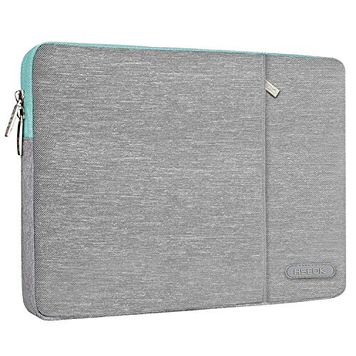 HSEOK Laptop Case 13-13.3 Inch Compatible with MacBook Air (2012-2017), Shockproof Waterproof Laptop Bag PC Case for Most 14 Inch Laptops (Acer/Ausu/Dell/HP/Lenovo), Grey & Blue Edge
