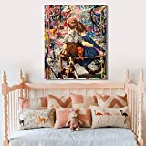 ganlanshu Cartel de Retrato de Arte Abstracto de Graffiti Callejero e impresión en Lienzo para Pintura de decoración de Sala de Estar,Pintura sin Marco,60X80cm