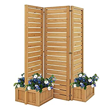 Yardistry YM11703 Fusion Planter Cedar Privacy Screen Brown
