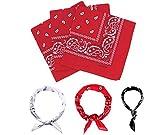 E-Senior Pañuelos Bandana, Pañuelos Rojo para Sanfermin, Unisex Bandanas de Paisley para Cuello/Cabeza/para las mujeres y los hombres (3Pack/Rojo)