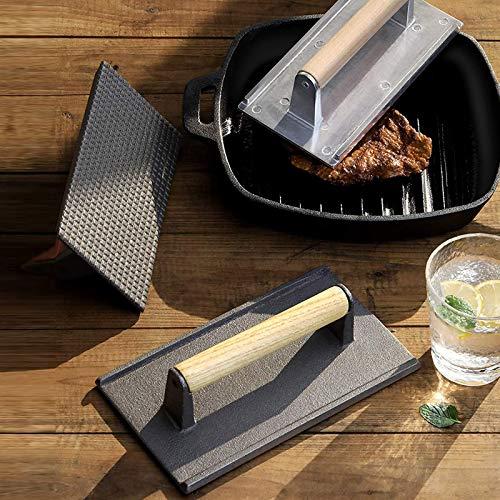 Pressa in Ghisa Rettangolare per Barbecue,kushuangPressa batticarne in ghisa, con Manico in Legno (Nero)