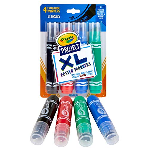 Crayola XL Poster Markers, Assorted Classic Colors, School Supplies, 4 Count