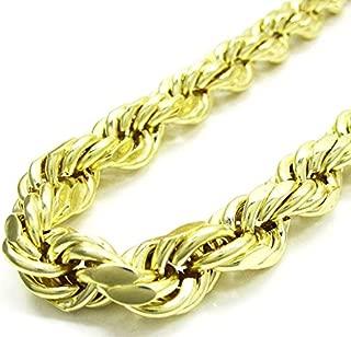 Jawa Jewelers 10K Yellow Gold Men's 10MM Diamond Cut Rope Chain & Bracelet, Lobster Clasp