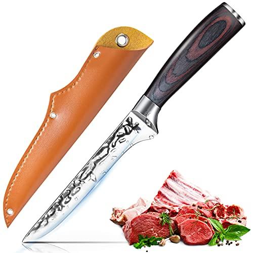 Cuchillo de shuesar Cuchillo de Filete15 CM, Inoxidable Cuchillos con patrón de estilo damasco cuchillo de carne de acero inoxidable alemán con mango de madera ergonómico , cuchillo de chef afilado