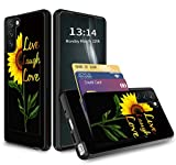 Phone Case for Samsung S21/S30, Galaxy S30/S21 Wallet Case with Hidden Card Holder, Dual Layer Hybrid ID Card Slot Hard Back Soft Inner Rubber Bumper Flip Wallet Cover - Live Laugh Love Sunflower