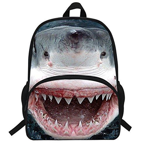 VEEWOW 16-Inch Children Yawning Great White Shark Shark Backpack For Boys Girls Animal Bags For Kids (D930)