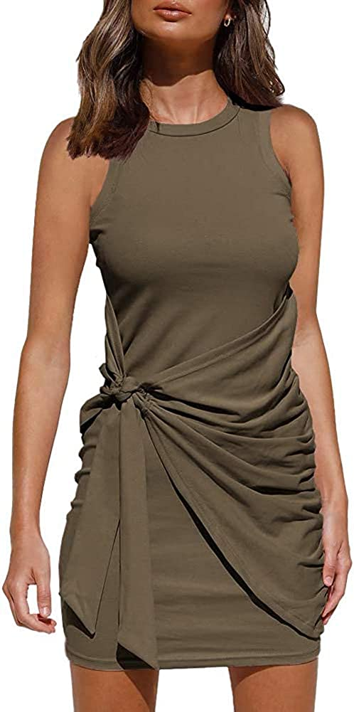 Women's Casual Summer Tank Dresses Crew Neck Ruched Sleeveless Bodycon Mini Dress Tie Waist Solid Color