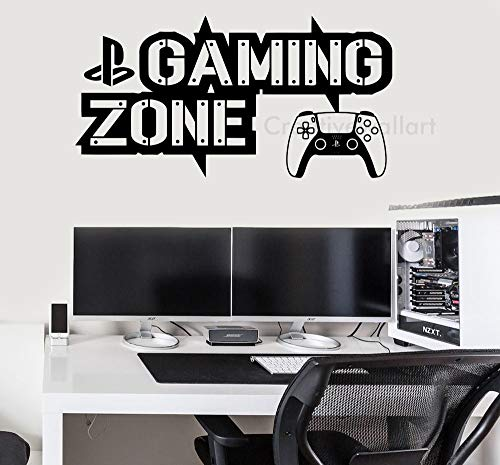 Gaming Zone - Pegatinas de pared para Playstation 5 (115 x 59 cm), color negro mate