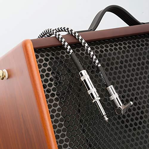 EastRock 1/4 Zoll Gitarren instrumenten kabel rechtwinklig Gitarrenkabeleingang für E-Gitarre, Bass, Verstärker, Keyboard, Mandoline und Mischpulte (3M/10ft, Schwarz-Weiß)