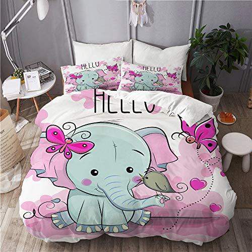 QINCO bedding-Duvet Cover Set,Greeting card cute cartoon Elephant with bird_689887828,Microfibre 200x200 with 2 Pillowcase 50x80,Double