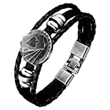 トランプ3連ラップ ブラックレザーブレスレット スペード ロイヤルストレートフラッシュ メンズ バングル 腕輪 シンプル 皮製 革製 革紐 皮ひも シルバー アンティーク 編み込み