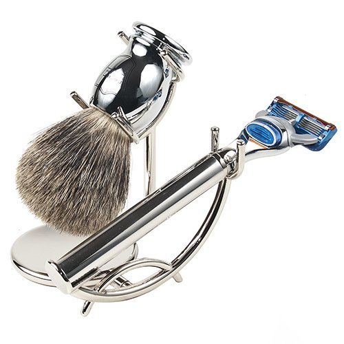 Rasoir de sécurité Parker, ensemble de rasage avec rasoir compatible Fusion en acier inoxydable à 5 lames, brosse de rasage en poils de blaireau pur e