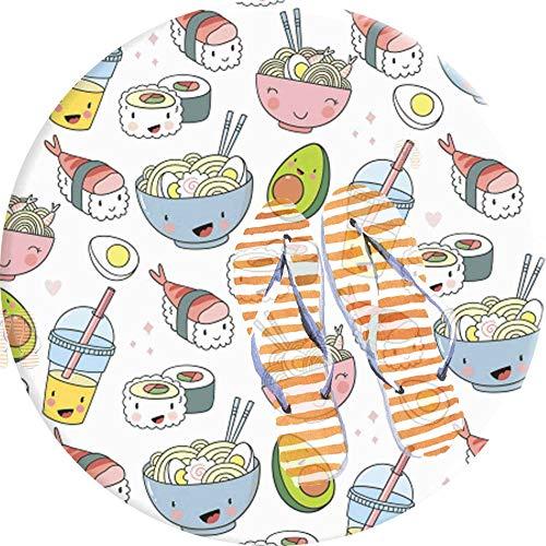 PEIGJH Runde Teppiche, Ramen Nudeln Sushi Avocado Teppich 60cm Waschmaschinenfest, für Wohnzimmer, Lvining Schlafzimmer