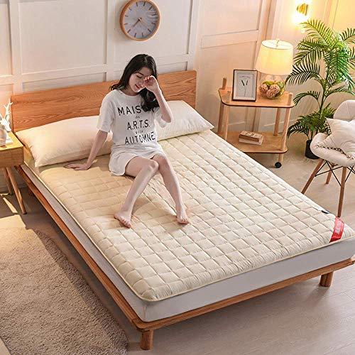 zyl Tatami japonés portátil colchón Transpirable de 4 cm de Grosor colchón de Tatami de algodón Antideslizante sofá Cama japonés colchón de Suelo para Acampar en casa fácil de Mover Beige 90x200
