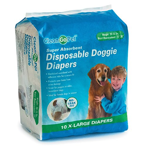 Clean Go Pet Disposable Doggie Diapers — Convenient Diapers for Incontinent Dogs, Dogs in Heat,...