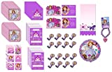 Sofia the First Princess Birthday Party Supplies Decoration Favor Bundle for 16 includes Plates, Napkins, Table Cover, Blowouts, Loot Bags, Invitations, Thank You Notes, Balloon, Stickers, Bead Bracelet