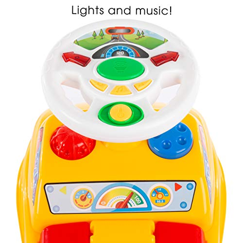 Lil' Rider Kids Push Car – Scoot and Ride Car Walker with Steering Wheel, Lights, Sounds, Music for Babies and Toddlers – Learning to Walk Toys