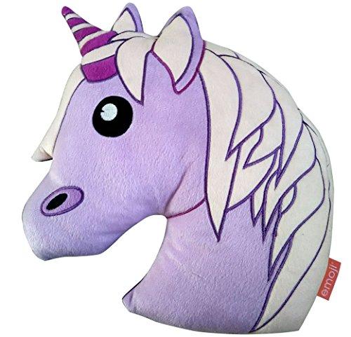 Emoji Unicorn Cushion, Polyester, Lilac, 35 x 10 x 35 cm