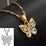 Anniyo CZ Butterfly Necklaces Women Girls Gold Color Charm Pendant Necklace Jewelry Cubic Zirconia Birthday Party Gift #008309