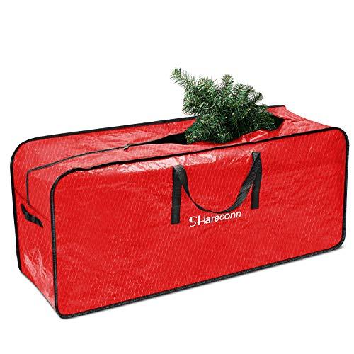Shareconn Christmas Tree Aufbewahrungstasche, robuste und langlebige hochwertige wasserdichte Aufbewahrungstasche, ideal für bis zu 7,5 Fuß hohe Weihnachtsbäume und andere Weihnachtsdekorationen, rot