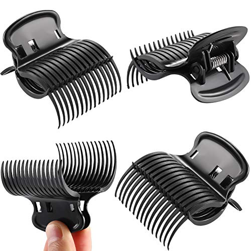 10 Pieces Hot Roller Clips Hair Curler Claw Clips Replacement Roller Clips for Women Girls Hair Section Styling (Black)