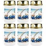 HScandle Grabkerze - 6er Pack - (Weiß) Grablicht ca. 48h Brenndauer je Kerze - Motiv: Regenbogen