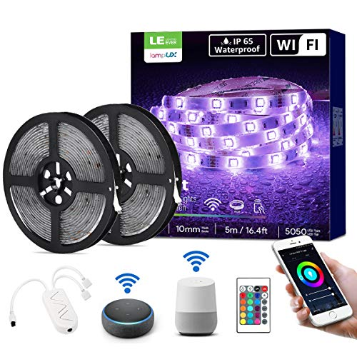 LE LED Strip 10M (2x5M), Alexa RGB LED Streifen, IP65 Wasserdicht Smart LED Leiste, [nur 2.4GHz] WiFi LED Band Lichterkette für Haus, Küche, Party, TV, Lichtband Kompatibel mit Alexa, Google Home