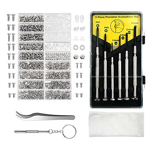 Aluan Eyeglass Repair Kit Sunglasses Repair Kit with Nose Pads Screws Screwdriver Tweezers for Watch Clock Spectacle Repair