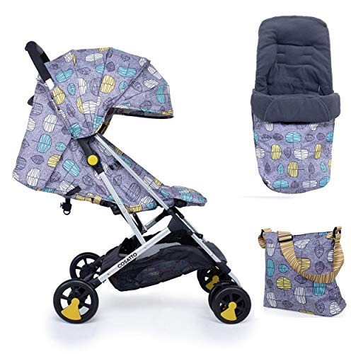 Cosatto Woosh Stroller Teal Dawn Chorus with Change Bag Footmuff and raincover from Birth to 25kg