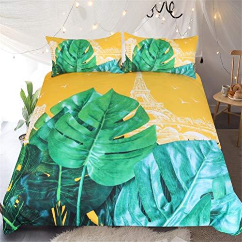 ADGAI 3PCS Banana Leaf bedrukt dekbedovertrek voor tweepersoonsbed, King standaard maat Tropical Forest beddengoed met ritssluiting voor meisjes en volwassenen