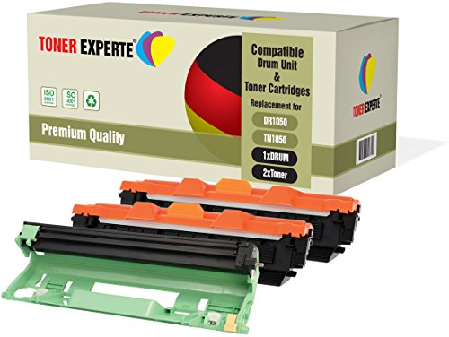 Kit 3 TONER EXPERTE® DR1050 Tamburo & TN1050 2 Toner compatibili per Brother DCP-1510 DCP-1512 DCP-1610W DCP-1612W HL-1110 HL-1112 HL-1210W HL-1212W MFC-1810 MFC-1910W