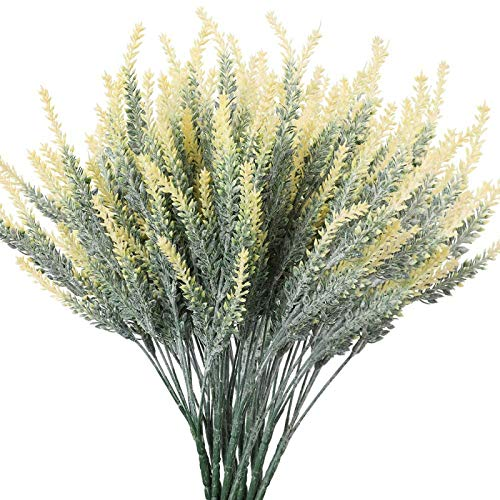 YYHMKB Artificial Lavender Flowers 8Pcs Fake Plants With Faux Plastic Wedding Bouquet For Table Centerpieces Home Kitchen Garden Farmhouse Decor Yellow