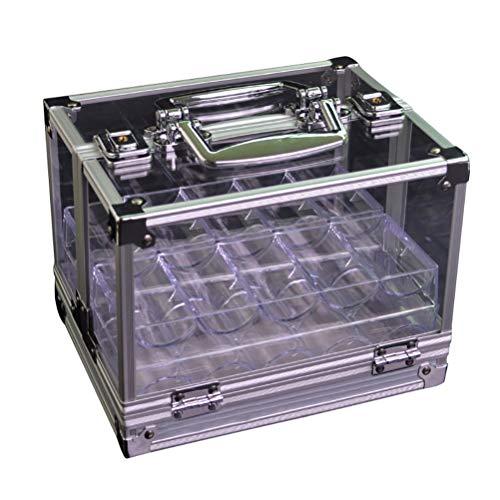Mallette de Poker Professionnelle, Peut Contenir 600 Pièces de Jetons de Poker en Argile, Coffret de Poker Transparent 22 x 18 x 17 cm, en Aluminium et Acrylique