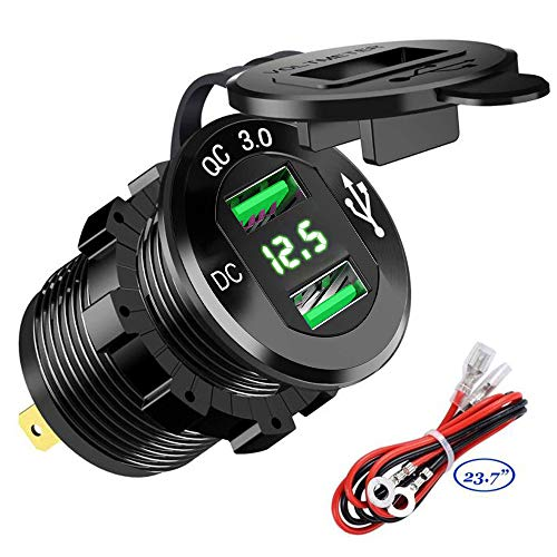 Quick Charge 3.0 Dual USB Car Charger Socket 12V/24V 36W QC3.0 Dual USB Fast Charger Aluminum Socket Power Outlet with LED Voltmeter for Marine, Boat, Motorcycle, Truck, Golf Cart