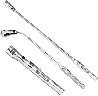 Magnet 3 x LED Magnetic Pickup tool, Telescoping Flexible Extensible Led Flashlights,Perfect Mechianic pick-up tools gifts for men, 4 x LR44 Batteries (Included), Silver