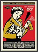 ポスター オベイ Obey Stay Up Girl/Shepard Fairey 手書きサイン入り 額装品 ウッドベーシックフレーム(ブラック)
