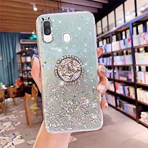 Coque pour Samsung Galaxy A20,Galaxy A30 Coque Transparent Glitter avec Support Bague,étoilé Bling Paillettes Motif Silicone Gel TPU Housse de Protection Ultra Mince Clair Souple Case,Vert